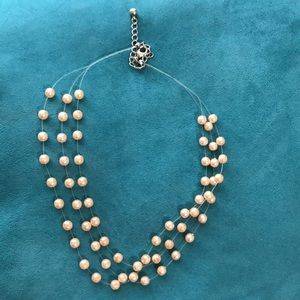 Pink Multi-Strand Faux Pearl Necklace